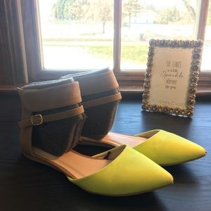 Neon Lime Pointed Toe Strapped Flats